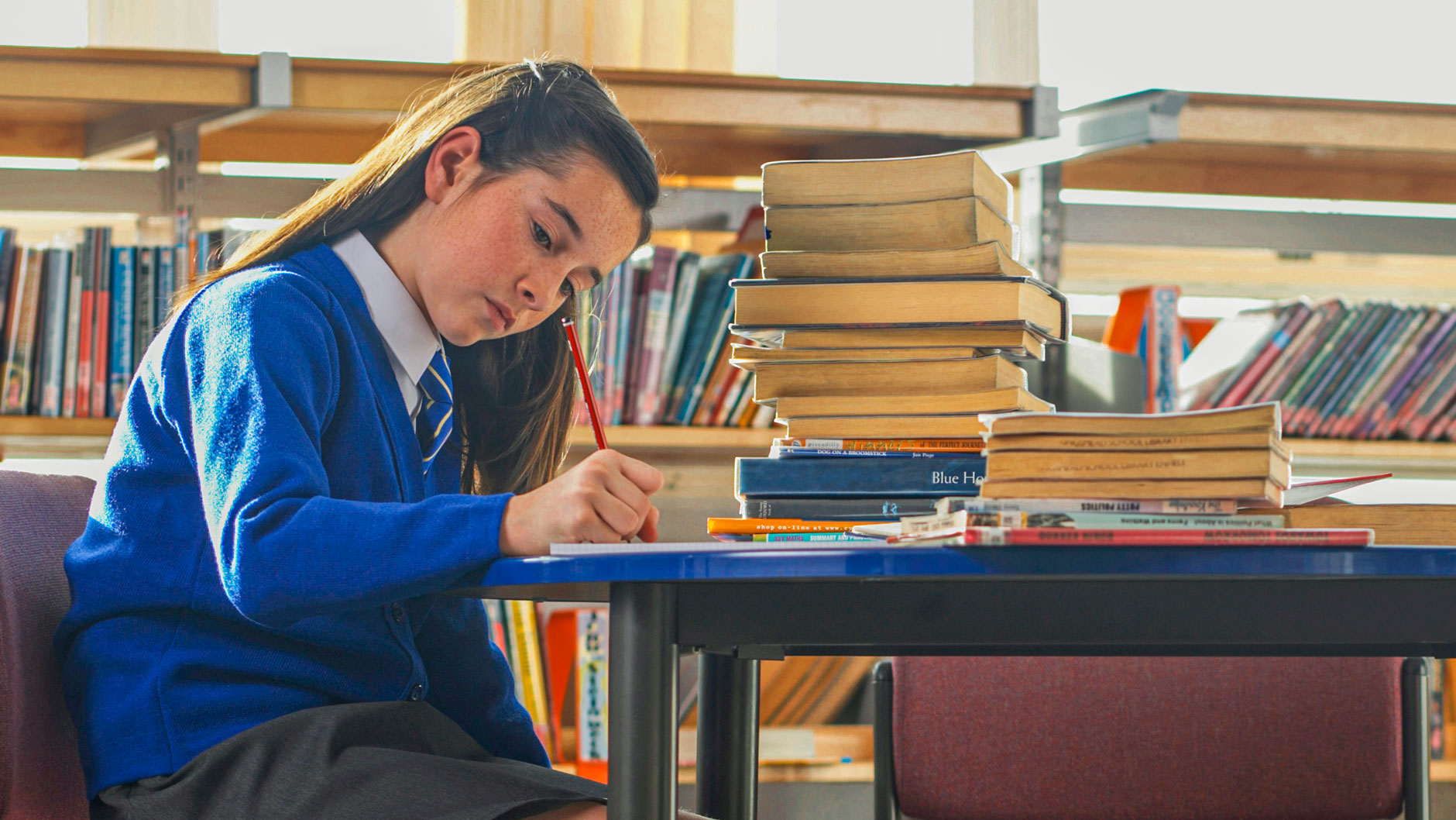 top performing student doing homework