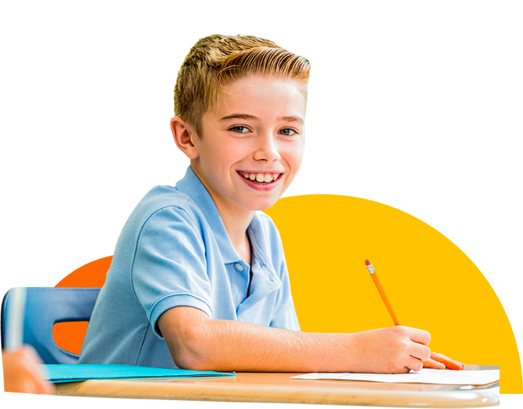 Student boy at school desk